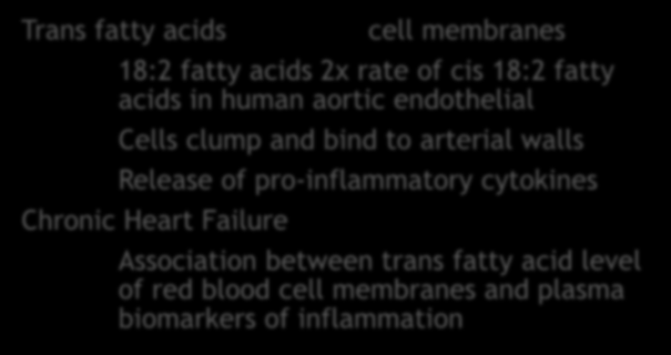 Macronutrient Trans Fats Trans fatty acids cell membranes 18:2 fatty acids 2x rate of cis 18:2 fatty acids in human