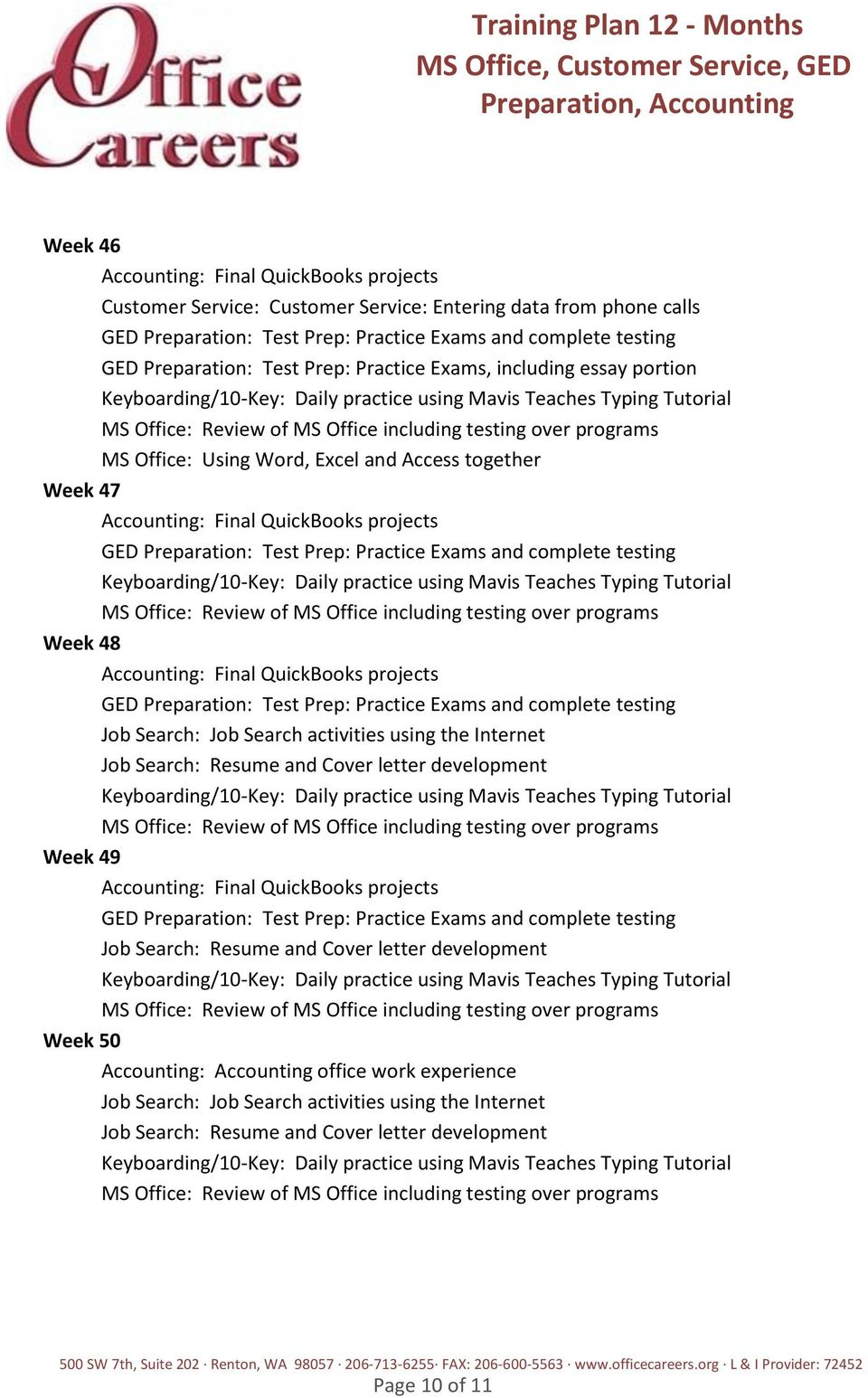 Training Plan 12 Months Ms Office Customer Service Ged