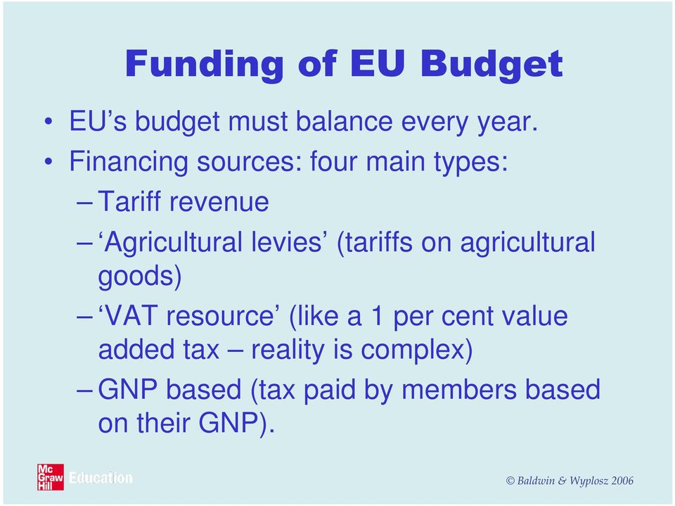 levies (tariffs on agricultural goods) VAT resource (like a 1 per