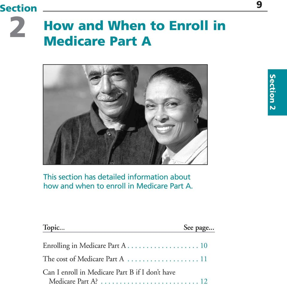 .. Enrolling in Medicare Part A................... 10 The cost of Medicare Part A.