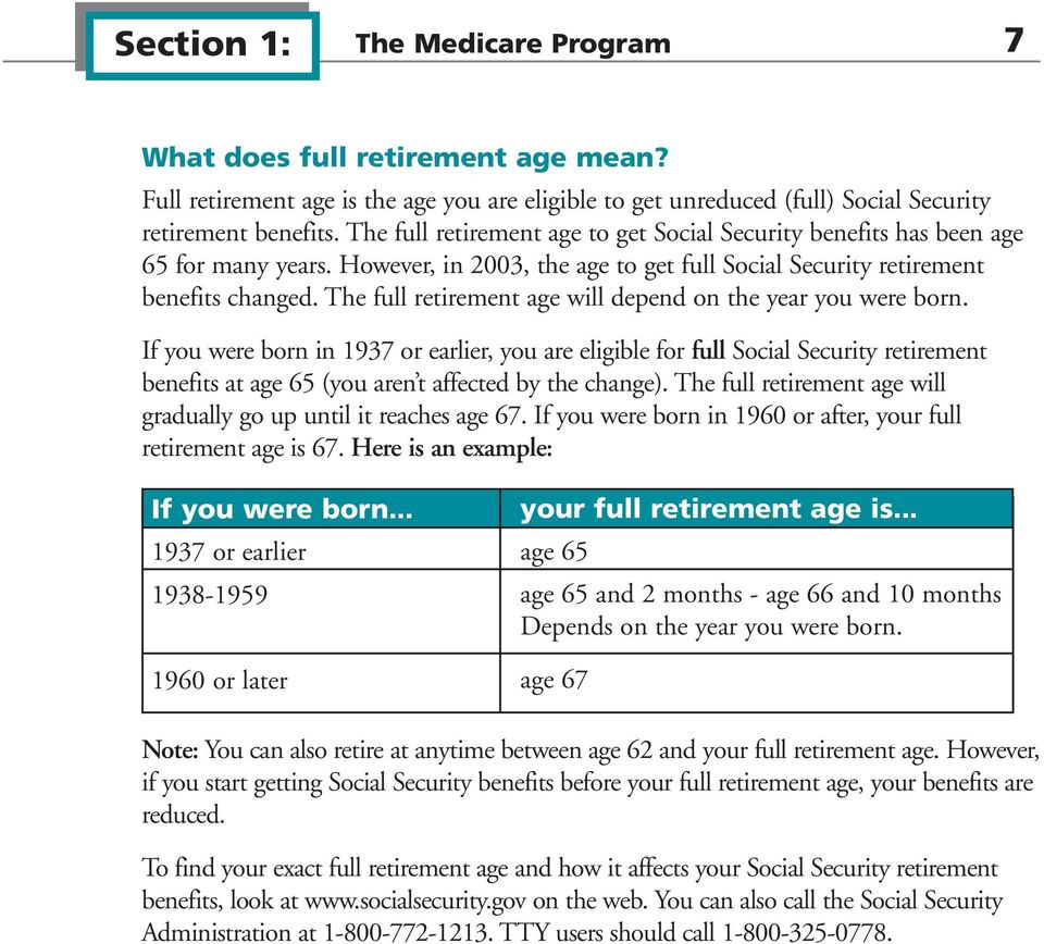 The full retirement age will depend on the year you were born.