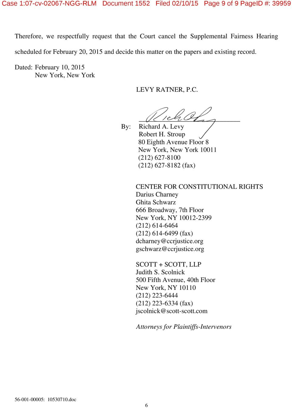 Case 1 07 cv ngg rlm document 1552 filed 02 10 15 page 1 for 111 8th ave 7th floor new york ny 10011
