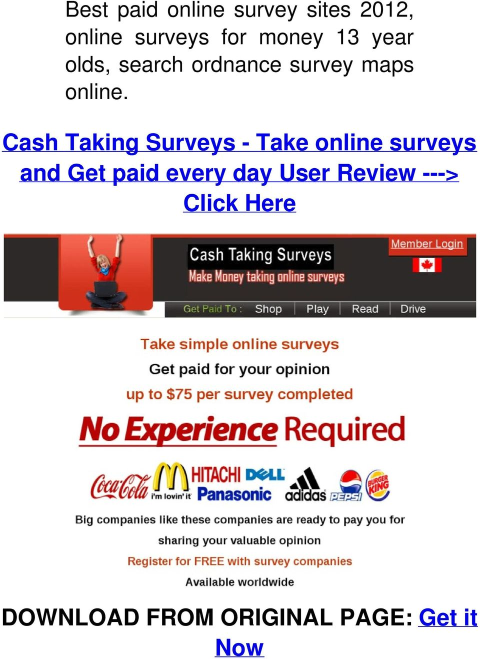 Cash Taking Surveys - Take online surveys and Get paid every