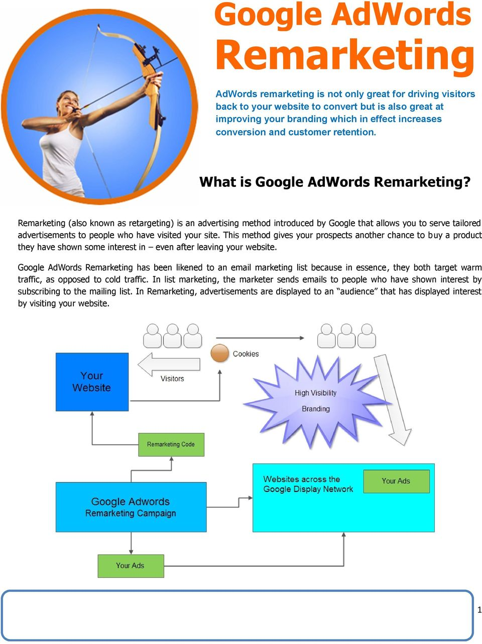 Remarketing (also known as retargeting) is an advertising method introduced by Google that allows you to serve tailored advertisements to people who have visited your site.