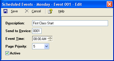 The scheduled event feature allows the activation of any system device with its default alert parameters.