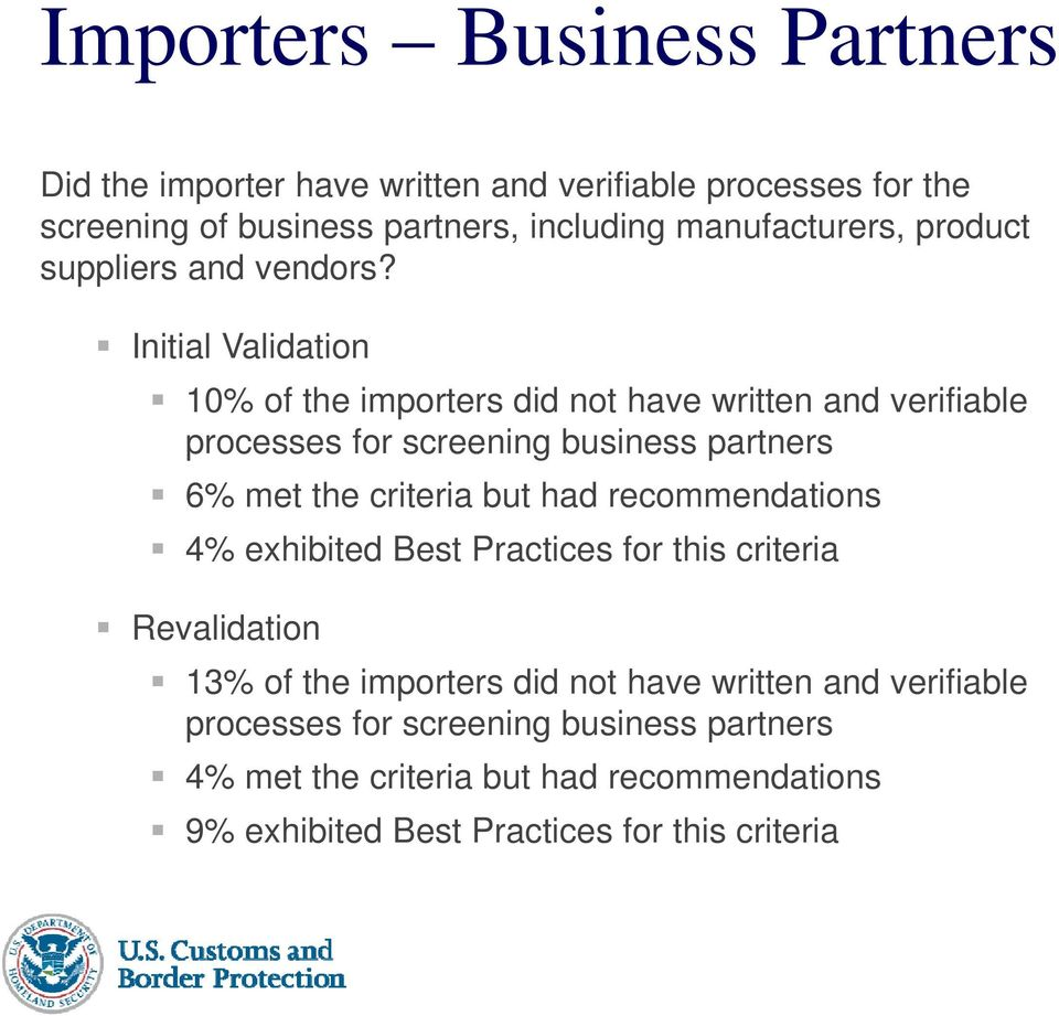 Initial Validation 10% of the importers did not have written and verifiable processes for screening business partners 6% met the criteria but had