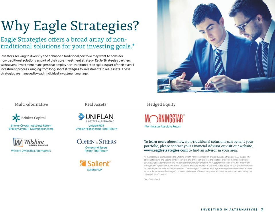 Eagle Strategies partners with several investment managers that employ non-traditional strategies as part of their overall investment process, ranging from long/short strategies to investments in