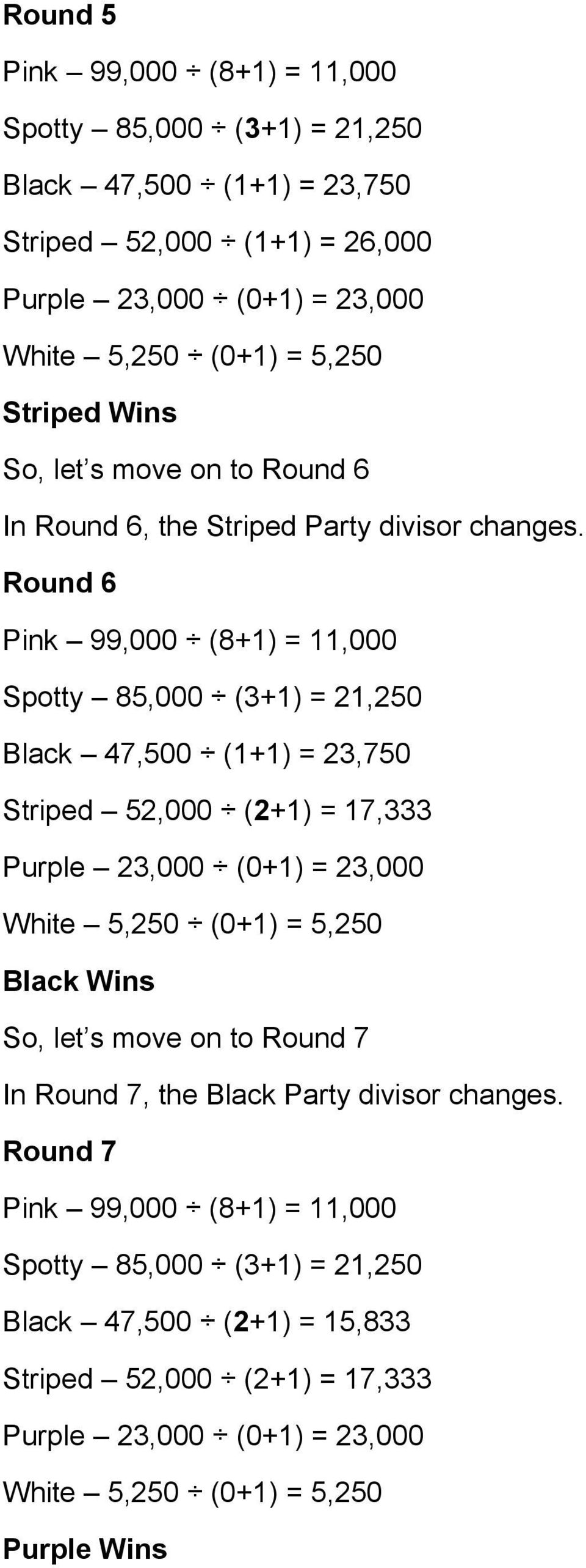 Round 6 Spotty 85,000 (3+1) = 21,250 Striped 52,000 (2+1) = 17,333 Black Wins So, let s move on to