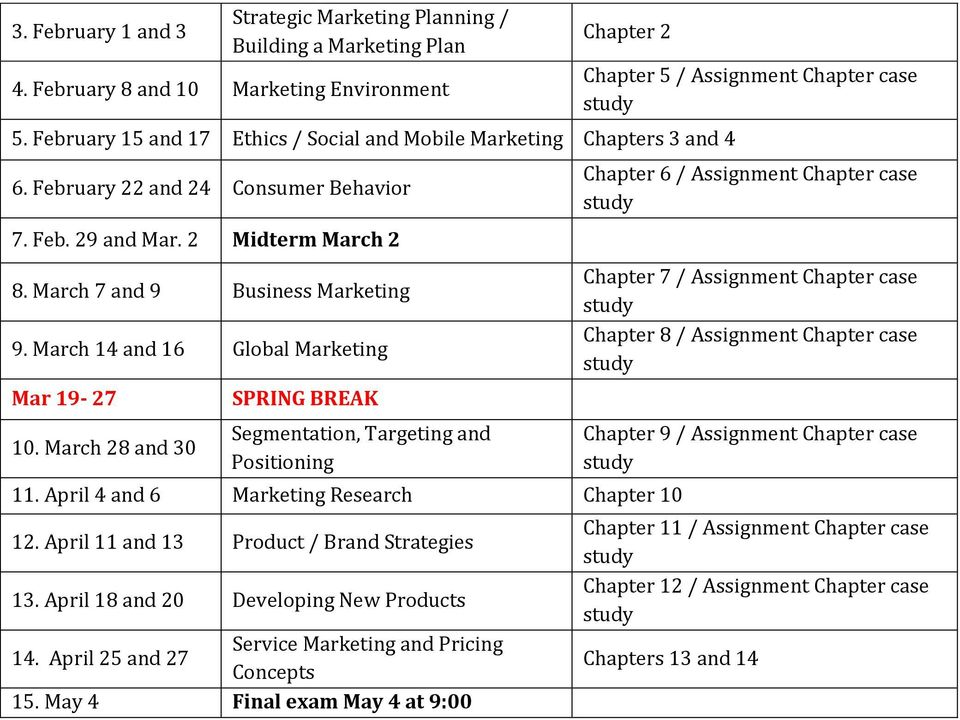 March 14 and 16 Global Marketing Mar 19-27 10. March 28 and 30 SPRING BREAK Segmentation, Targeting and Positioning 11. April 4 and 6 Marketing Research Chapter 10 12.
