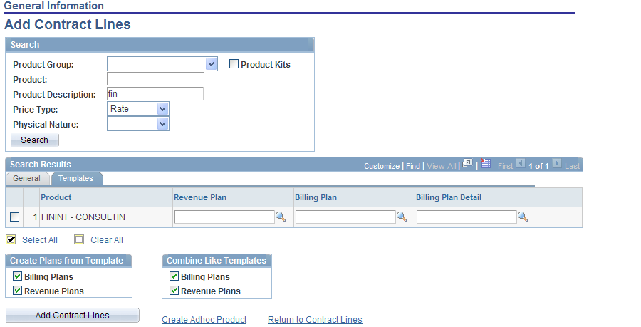 Chapter 12 Creating Cost-Plus Government Contract Lines Search Results: Templates Tab Select the Templates tab.