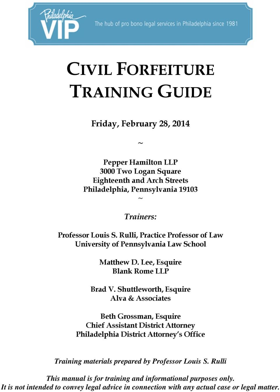 Civil forfeiture training guide pdf for Lees associates llp