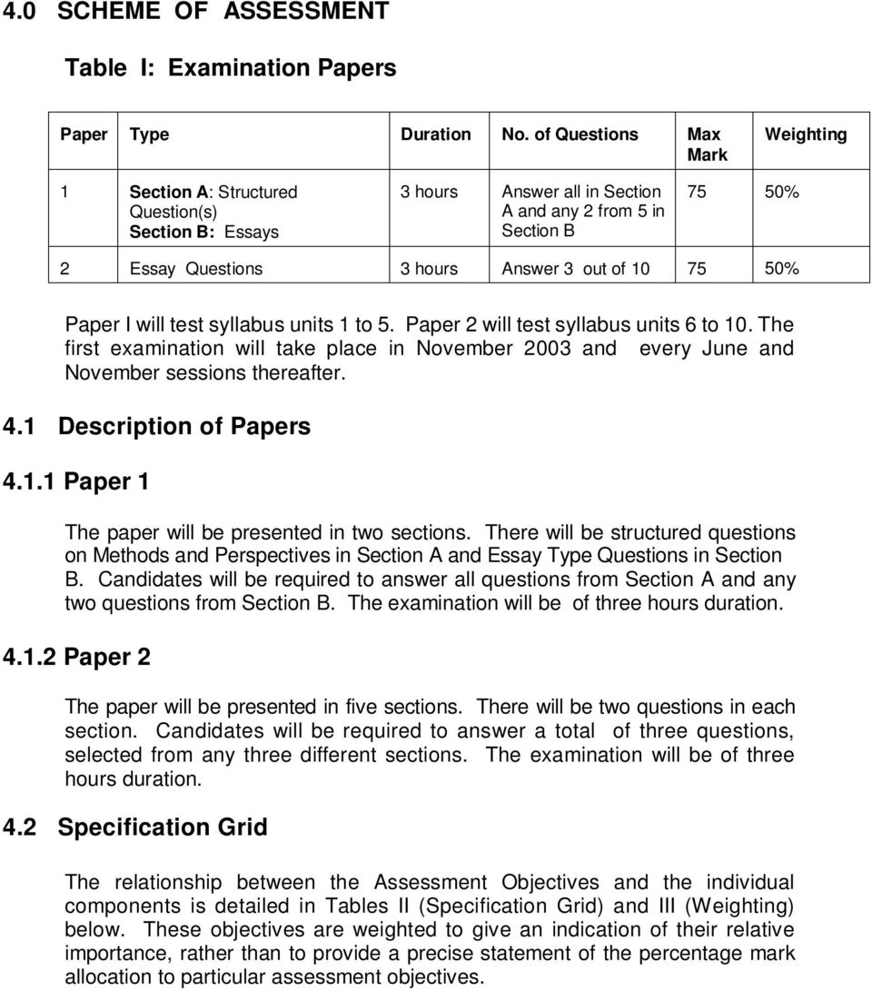 zimbabwe school examinations council zimsec advanced level 75 50% paper i will test syllabus units 1 to 5 paper 2 will