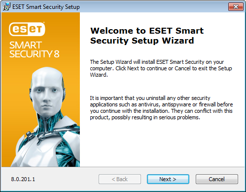 Installation Launching the installation To launch the installer wizard, do one of the following: ESET Smart Security contains components that may conflict with other antivirus products or security