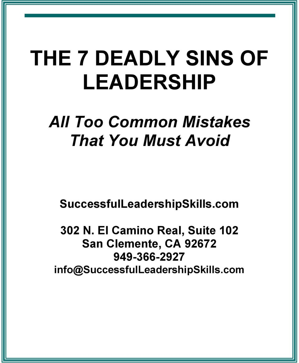 SuccessfulLeadershipSkills.com 302 N.