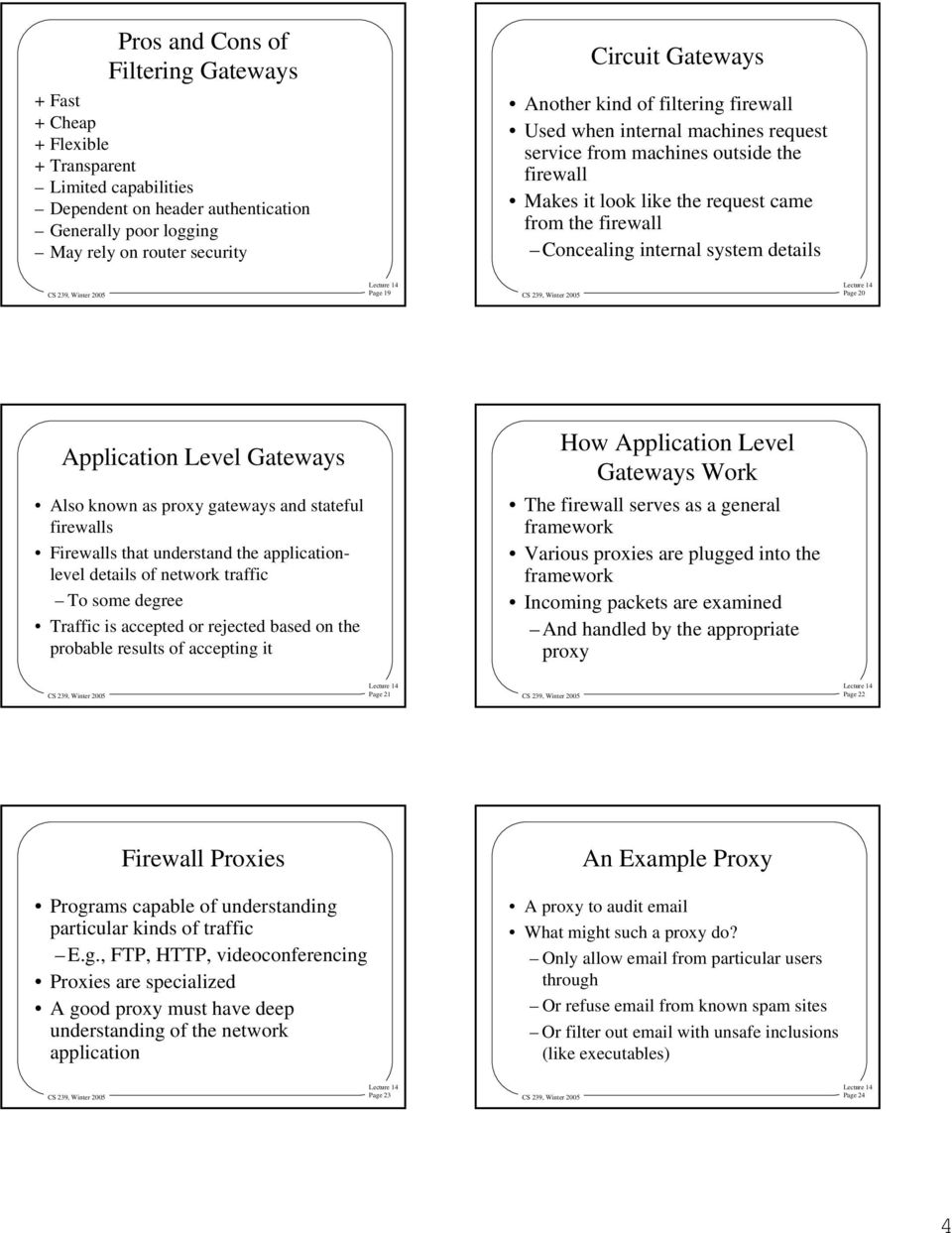 details Page 19 Page 20 Application Level Gateways Also known as proxy gateways and stateful firewalls Firewalls that understand the applicationlevel details of network traffic To some degree Traffic