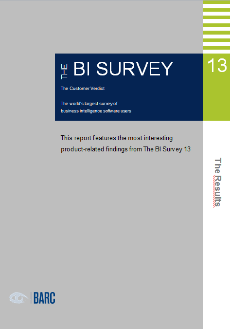 The BI Survey 13: The largest BI end-user survey in the world 100% unbiased Product weaknesses are reported by users High relevancy: Big, international sample - 3150 respondents from 69 countries