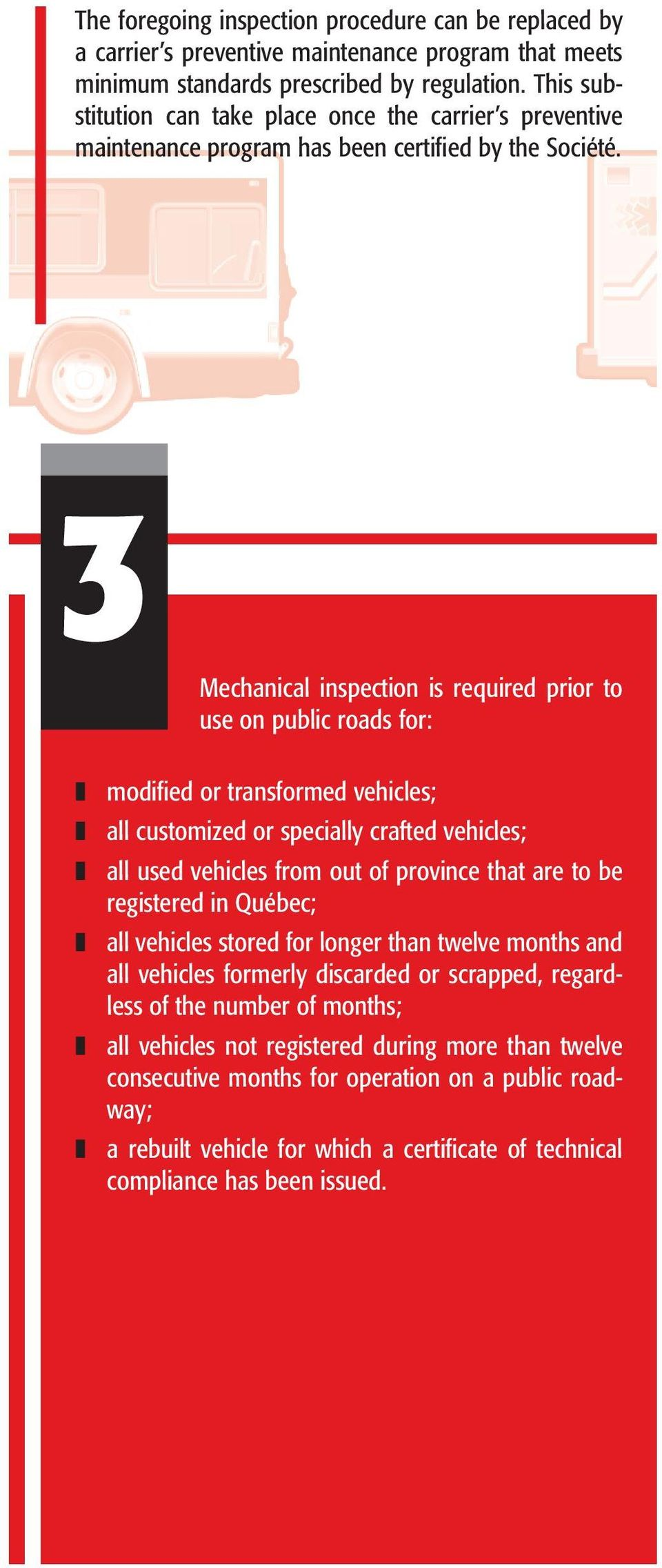 3 Mechanical inspection is required prior to use on public roads for: modified or transformed vehicles; all customized or specially crafted vehicles; all used vehicles from out of province that are