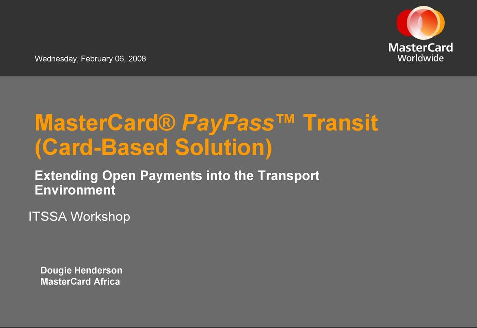 Extending Open Payments into the Transport