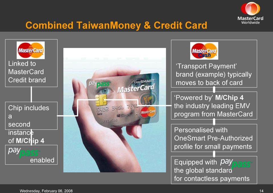 M/Chip 4 the industry leading EMV program from MasterCard Personalised with OneSmart Pre Authorized