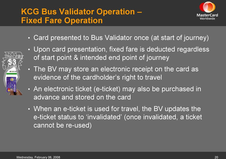 intended end point of journey The BV may store an electronic receipt on the card as evidence of the cardholder s right to travel An electronic ticket