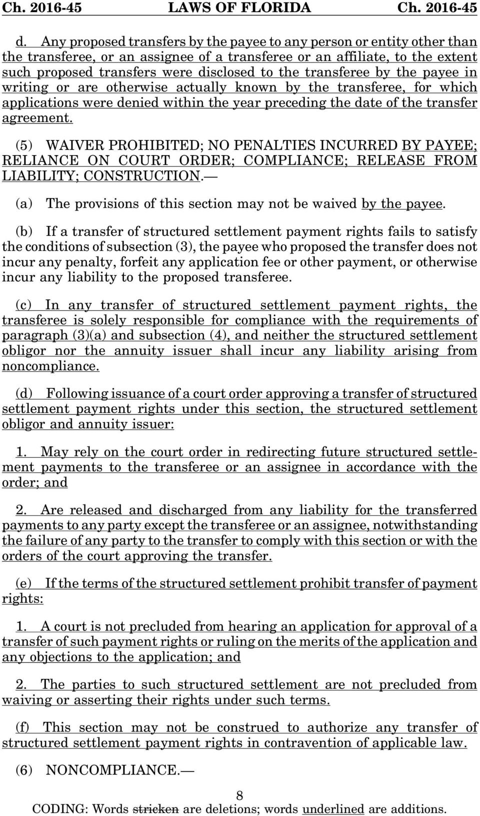 (5) WAIVER PROHIBITED; NO PENALTIES INCURRED BY PAYEE; RELIANCE ON COURT ORDER; COMPLIANCE; RELEASE FROM LIABILITY; CONSTRUCTION. (a) The provisions of this section may not be waived by the payee.