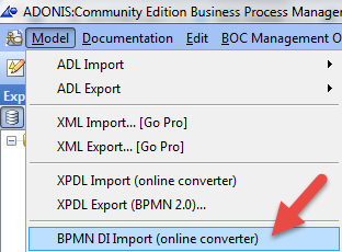Importing processes from other tools BPMN DI
