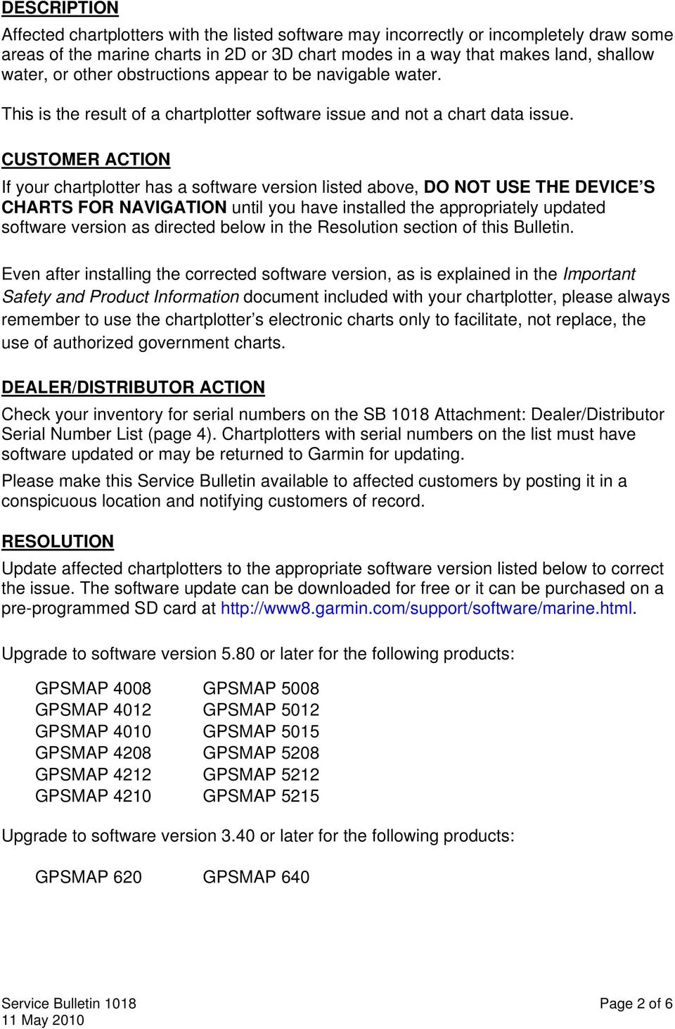 SERVICE BULLETIN  Software version 3 30 for the following