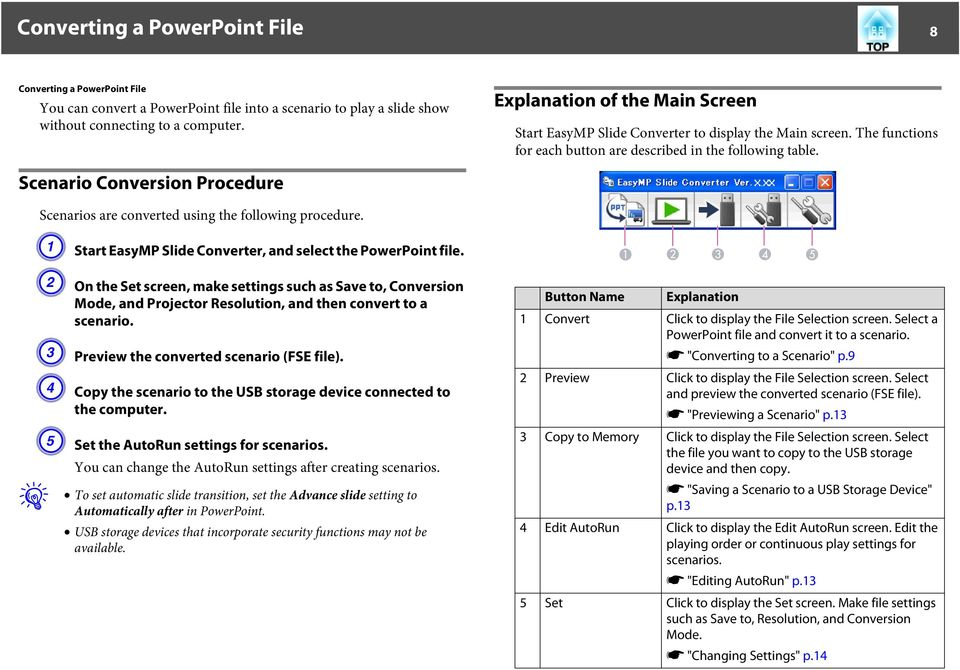 Scenario Conversion Procedure Scenarios are converted using the following procedure. A Start EasyMP Slide Converter, and select the PowerPoint file.