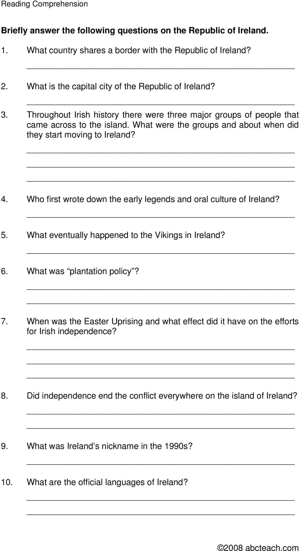 Who first wrote down the early legends and oral culture of Ireland? 5. What eventually happened to the Vikings in Ireland? 6. What was plantation policy? 7.