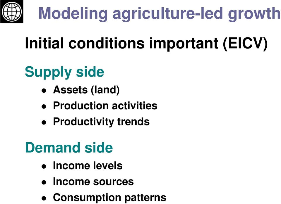 (land) Production activities Productivity trends