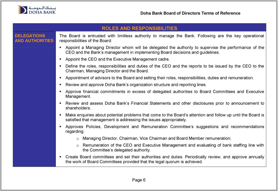 implementing Board decisions and guidelines. Appoint the CEO and the Executive Management cadre.