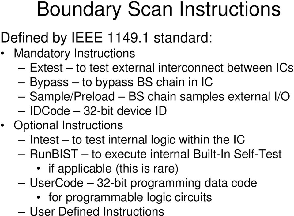 Sample/Preload BS chain samples external I/O IDCode 32-bit device ID Optional Instructions Intest to test internal