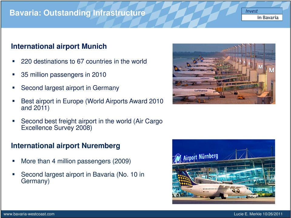 best freight airport in the world (Air Cargo Excellence Survey 2008) International airport Nuremberg More than 4 million