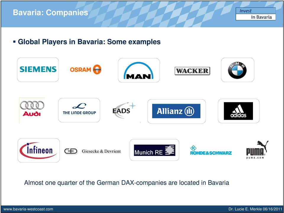 DAX-companies are located in Bavaria www.