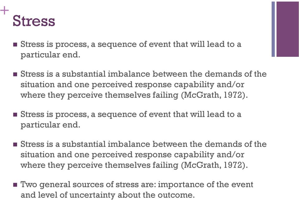 failing (McGrath, 1972). Stress is process, a sequence of event that will lead to a particular end.  failing (McGrath, 1972).