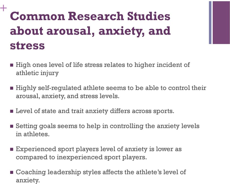 Level of state and trait anxiety differs across sports. Setting goals seems to help in controlling the anxiety levels in athletes.