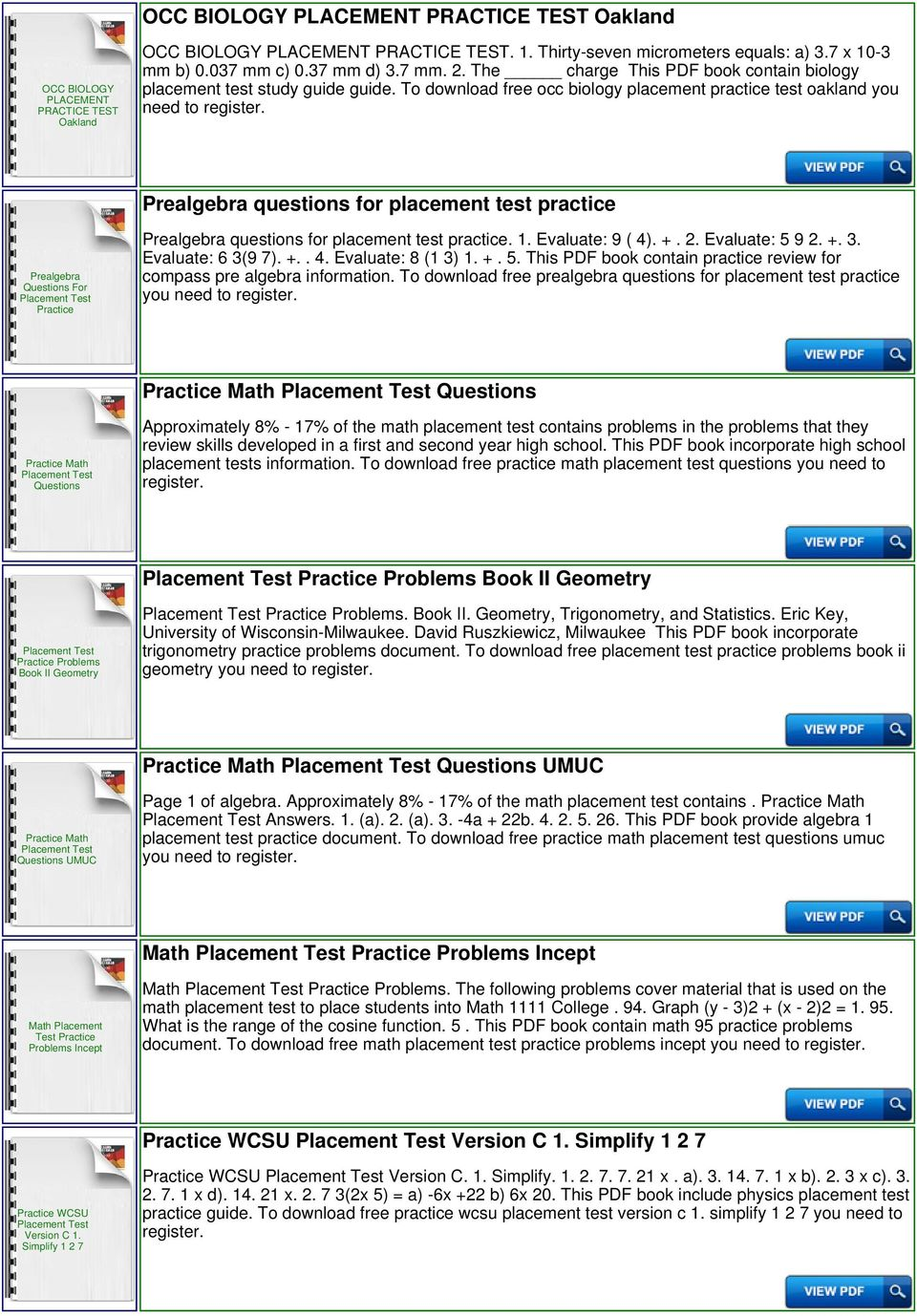 To download free occ biology placement practice test oakland you Prealgebra questions for placement test practice Prealgebra Questions For Practice Prealgebra questions for placement test practice. 1.