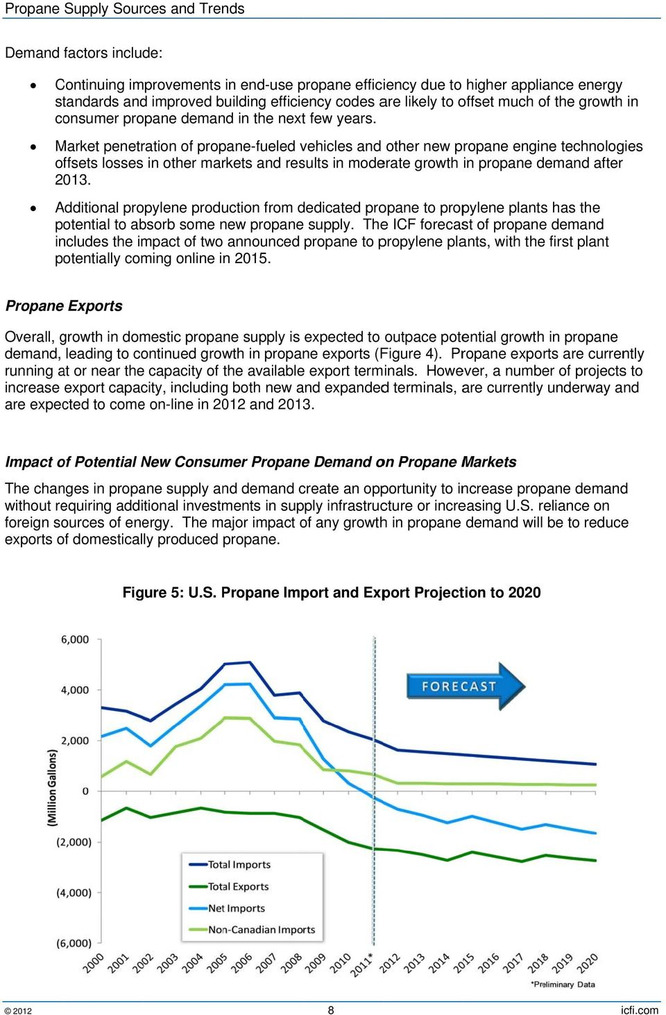 Market penetration of propane-fueled vehicles and other new propane engine technologies offsets losses in other markets and results in moderate growth in propane demand after 2013.