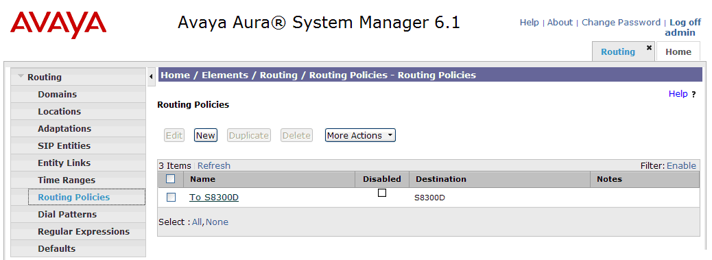 Inbound calls to Communication Manager. To add a Routing Policy, navigate to Routing Routing Policies and click on the New button on the right (screen not shown).