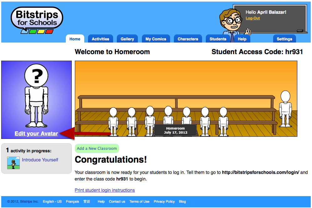 Designing your avatar Learn how to design your avatar using the Character Builder Launch the Character Builder from your homepage One of the first things to do with a new Bitstrips for Schools