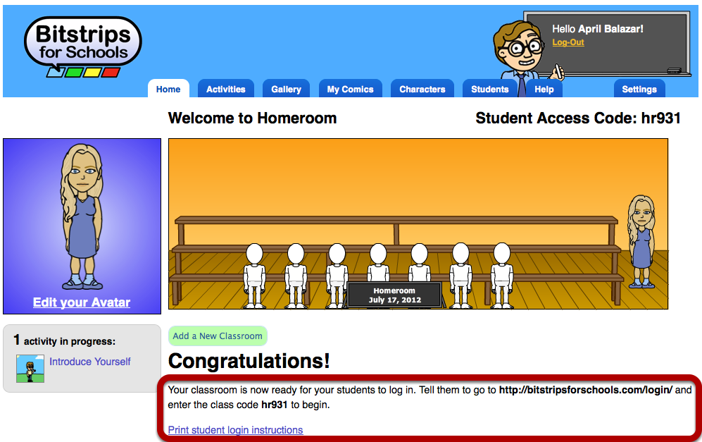 Logging your students in for the first time Give your students these instructions to log into their accounts Find student login instructions right on your homepage After you create your classroom,