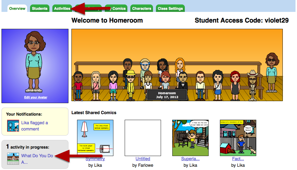 Reviewing student comics and providing feedback Learn how to keep track of student activity progress, and review and provide feedback on submitted comics.