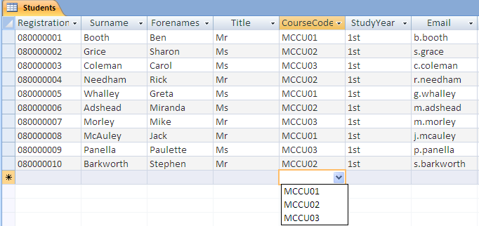 6.4 Lookup Fields If a field should only contain certain specified values, as in the programme code field, you can build a menu in the table that contains the choice of values.