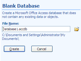 When Access starts you will see the Access window, the right-hand pane displays options for selecting files which you have recently worked on, and for creating a new database.