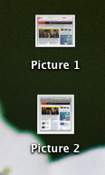 Switch to the Finder (Return to your Desktop) On your desktop you'll see a file for each screenshot you've captured, labeled Picture 1, Picture 2, etc.