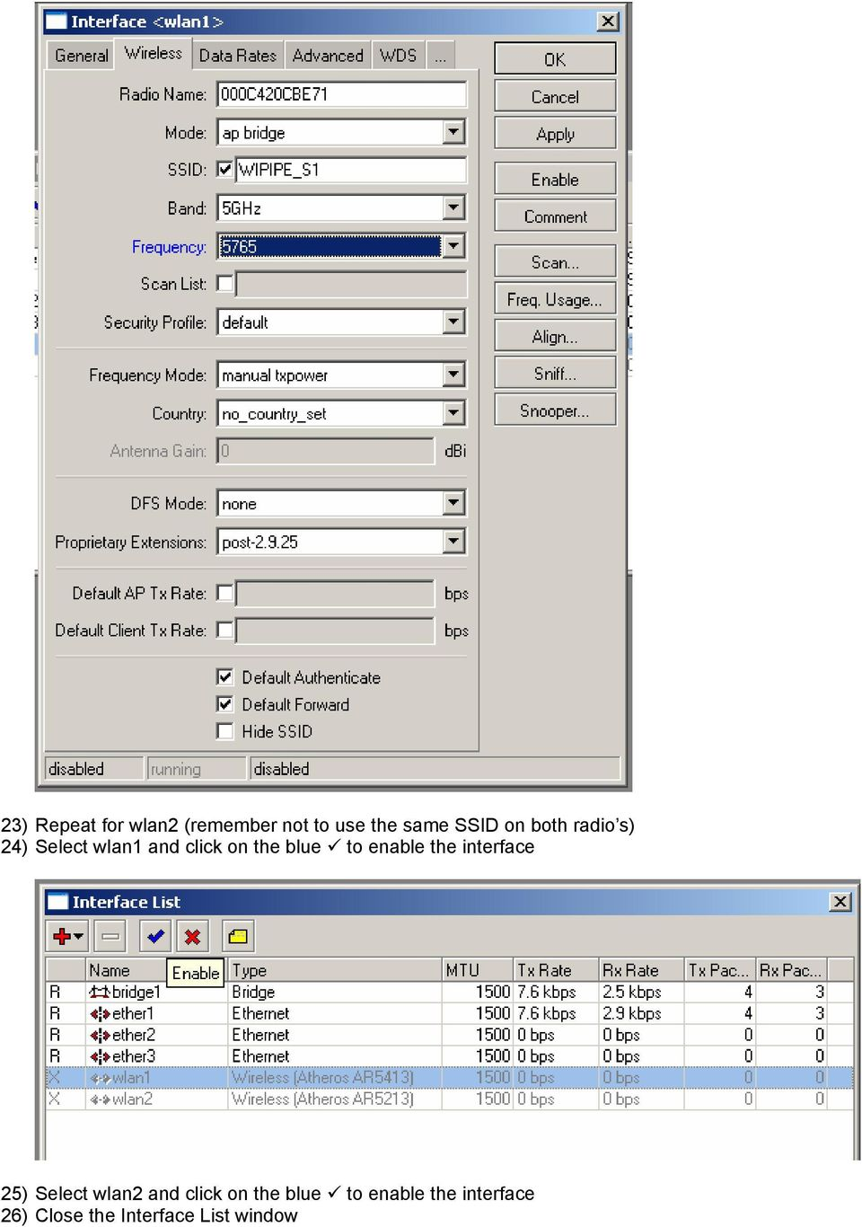 enable the interface 25) Select wlan2 and click on the
