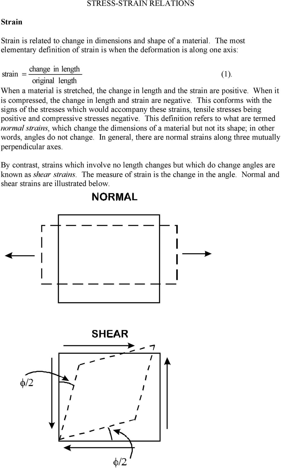 original length When a material is stretched, the change in length and the strain are positive. When it is compressed, the change in length and strain are negative.