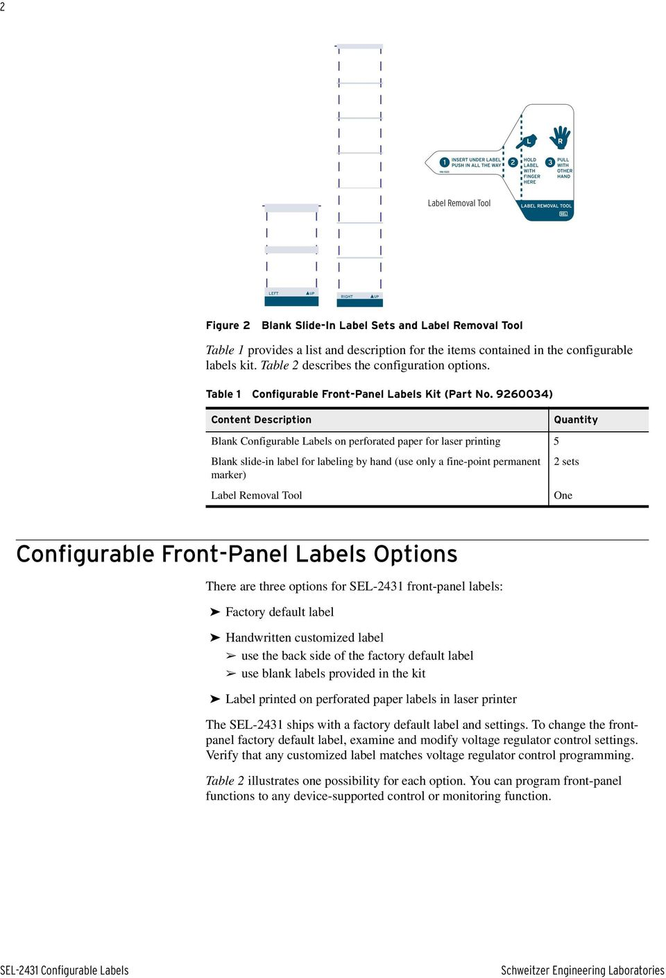 9260034) Content Description Quantity Blank Configurable Labels on perforated paper for laser printing 5 Blank slide-in label for labeling by hand (use only a fine-point permanent 2 sets marker)