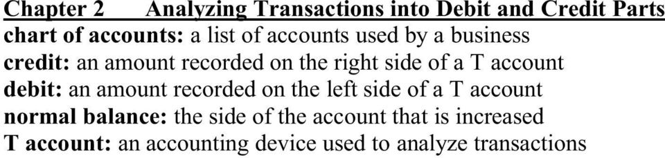 account debit: an amount recorded on the left side of a T account normal balance: the