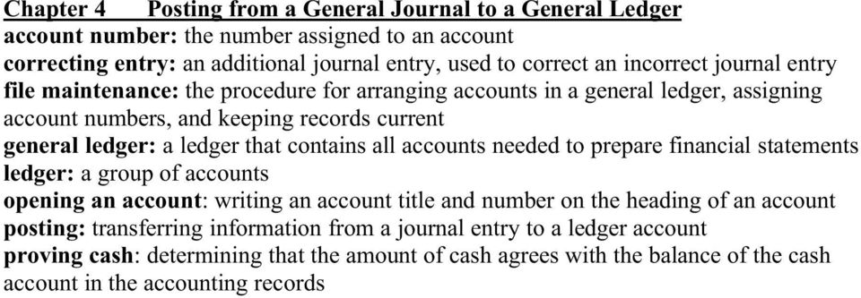 that contains all accounts needed to prepare financial statements ledger: a group of accounts opening an account: writing an account title and number on the heading of an account
